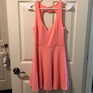 LA hearts bright fluorescent pink dress